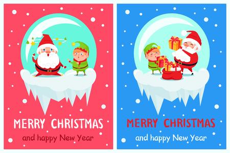 ハッピーニューイヤーメリークリスマスポスターサンタエルフ  イラスト・ベクター素材