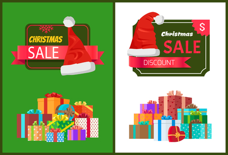 Christmas sale posters set with wrapped present, promo label Santas hat vector illustration discount shopping sticker with gifts pile and headwear Illustration
