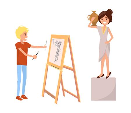 花瓶を持つ女の静物画を描く少年