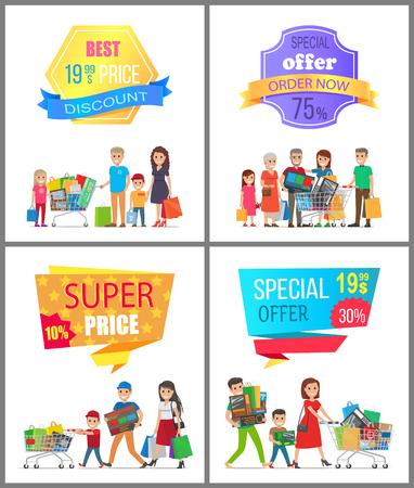 セール低価格特別割引スーパーチョイスカード、プロモーションバナーのベクトルイラスト、陽気な家族、様々な購入、広告文