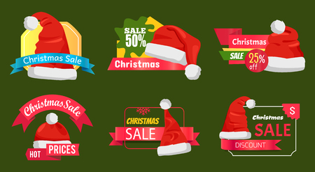 Great diversity of Santa Clause hats on shopping labels, promo stickers set with advertising info and discounts percent signs vector emblems on green.