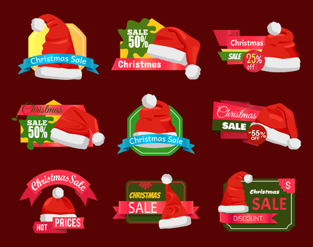 Set of premium quality half price promo cards vector illustration with six Santa hats isolated on cherry background, advertising text, cute ribbons.