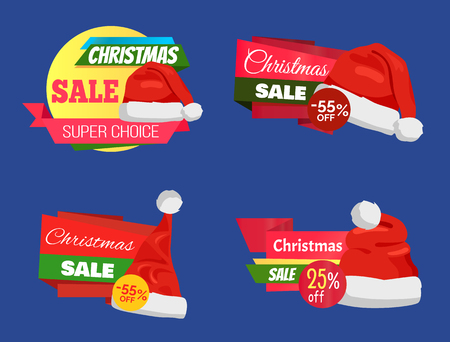 Christmas sale super choice half price banners vector illustration with red Santa hats isolated on dark blue background, ad text, glossy ribbons. Illustration