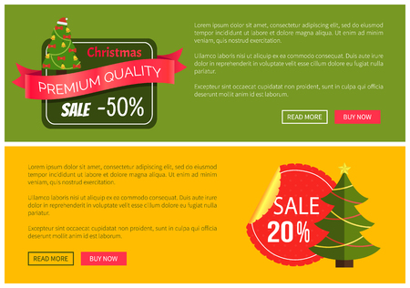 Hot prices Christmas sale buy now posters vector illustration with promotion text, red sticker and ribbon, Christmas tree with toys push-buttons. Illustration