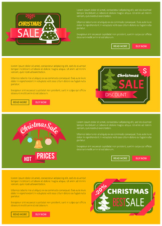 Premium quality hot price hristmas sale card vector illustration isolated on yellow and green backgrounds, ad text, tree ribbons push-buttons toys Stock Vector - 94375919