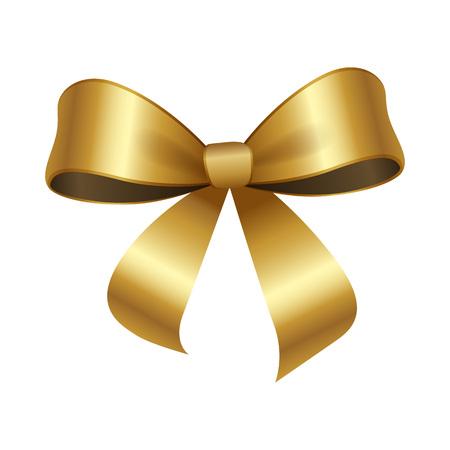 2つのエッジベクトルイラスト装飾要素を持つ黄金の弓の結び目は、白い背景に分離しました。サティンゴールドリボン、デザイン用シルクテープ