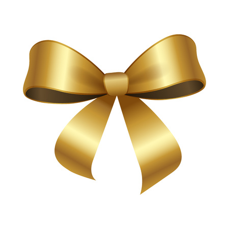 Golden bow knot with two edges vector illustration decorative element isolated on white background. Satin gold ribbon, silk tape for your design