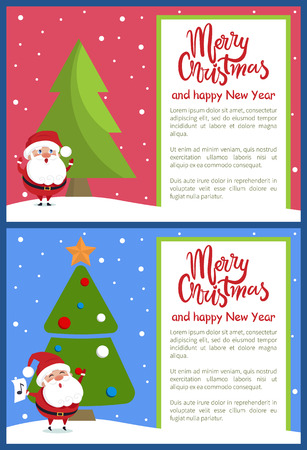 Merry Christmas and Happy New Year greeting card Santa singing carol songs with sheet of paper near Xmas tree on snowy backdrop vector illustration
