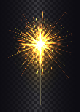 Sparkler on stick poster, Bengal light fired up, symbolic object during celebration of New Year, vector illustration isolated on black and golden