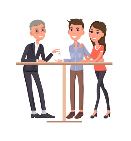Man and woman buying ring, couple getting ready to new stage of their life, marriage and wedding with celebration, ahead vector illustration Illustration