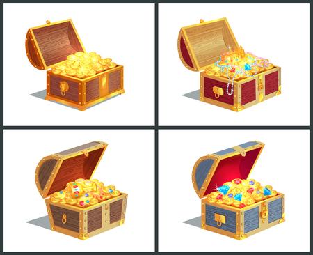 Coleção de cartazes de caixa do tesouro, caixão com moedas de ouro e coroa real, diamantes e jóias com ilustração vetorial de Copa isolada no branco Ilustración de vector