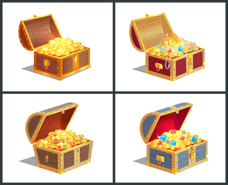 Treasure box posters collection, casket with golden coins and royal crown, diamonds and jewelry with cup vector illustration isolated on white Illustration