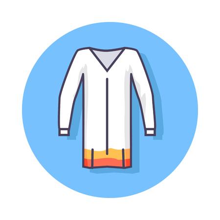 beachwear 항목을 묘사 한 원 아이콘입니다. 연한 파란색 배경에 고립 된 오렌지 아래쪽 가장자리와 흰색 unisex 비치 튜 닉의 벡터 일러스트 레이 션