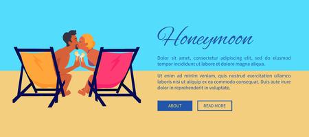 フラットなスタイルのデザインで熱い太陽ベクトルイラストウェブバナーの下で海の近くにキスカクテルとビーチでリクライニングのカップル