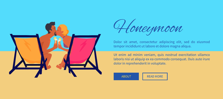 Couple on recliners at beach with cocktails kisses near sea under hot sun vector illustration web banner in flat style design