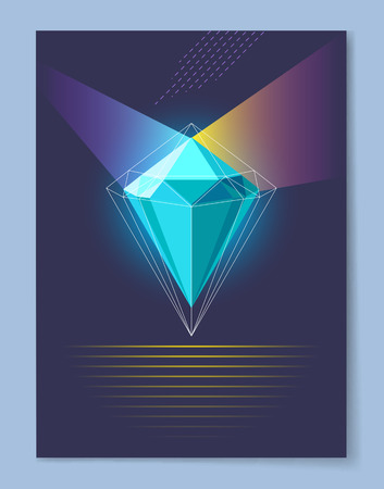 Luminous diamond with thin outline spreads bright colorful rays in both sides cartoon vector illustration on dark background with lines underneath.