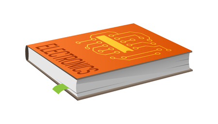Book on electronics with bookmark vector illustration isolated on white. Closed textbook about principles of electricity work, technical engineering Illustration