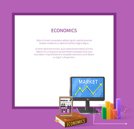 Market and economics banner with computer screen, various charts, textbook with counting frame and icons of currencies isolated vector illustration with place for text.