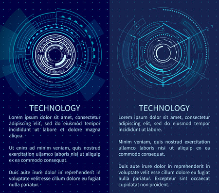 Technology poster with bright interface shapes vector illustration with text sample lot of lines and polygons isolated on dark blue backdrop with dots Ilustrace