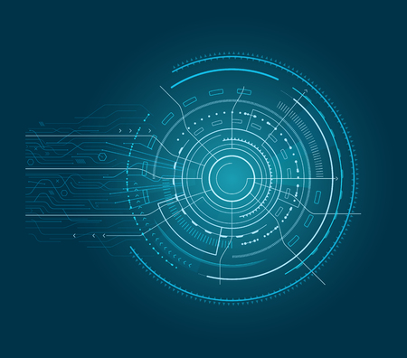 Interface with arrows, abstract circular shape with lines and pointers going out of it, object vector illustration isolated on blue background