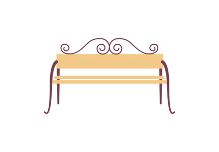 Icon of decorated bench of yellow and brown colors which is comfortable to sit on demonstrated on vector illustration isolated on white Illustration