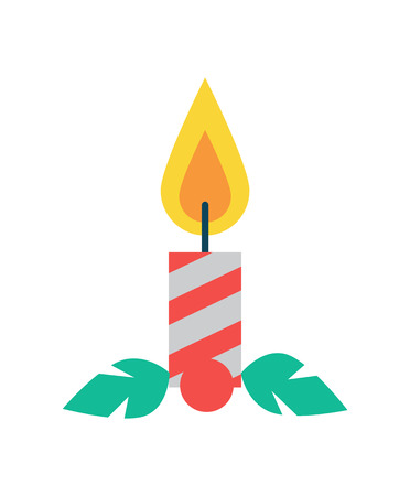 Candle of red color made of wax, Christmas decoration element with flame, ignitable wick embedded in wax vector illustration on white background