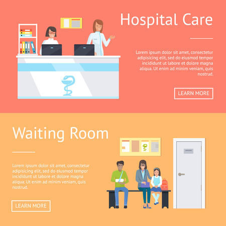 Hospital care and waiting room, women standing at reception by computers and patients sitting on bench, picture with text sample vector illustration