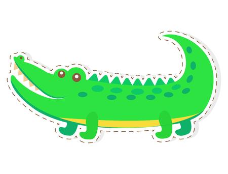 귀여운 재미 녹색 악어 또는 악어 벡터 플랫 만화 스티커 또는 아이콘 화이트 절연 점선 된 설명. 게임 카운터, 가격 태그에 대한 아프리카 파충류 동물