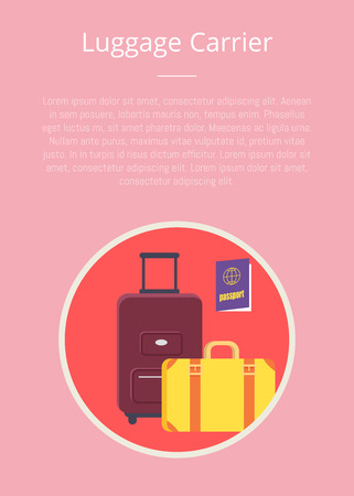 Luggage carrier hotel closeup symbol with written text. Vector colorful illustration in flat design of icon presenting hotel service