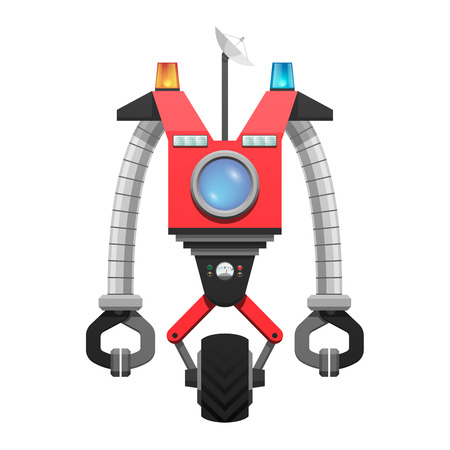 Red robot with satellite and round screen that moves around with wheel isolated vector illustration on white background.