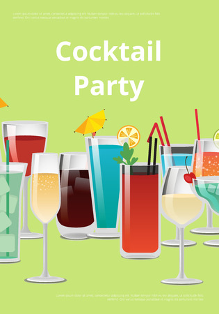 Cocktail party advertising poster with alcoholic drinks in beautiful decorated glasses. Vector illustration of ad about event on green background