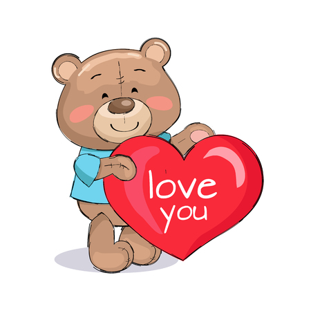 Bear male holding red heart, text I love you, dressed in blue t-shirt, fluffy stuff teddy-bear isolated on white vector illustration in cartoon design