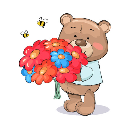 Teddy bear with bouquet of colorful flowers of pink and blue color and bees flying above them vector isolated on white. Luxury spring blooming plants