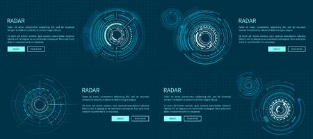 Set of exact radar templates vector illustration with bright geometric shapes, text sample and light push-buttons isolated on deep blue background