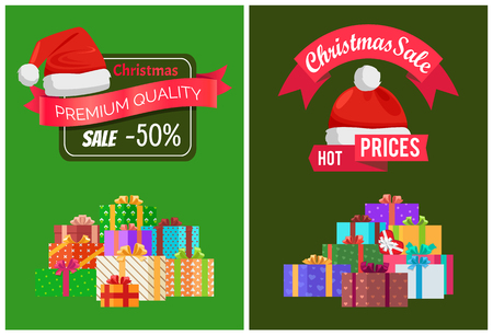 Christmas sale on products of premium quality advertisement banners with gift boxes in big heap and festive red Santas hat vector illustrations set.