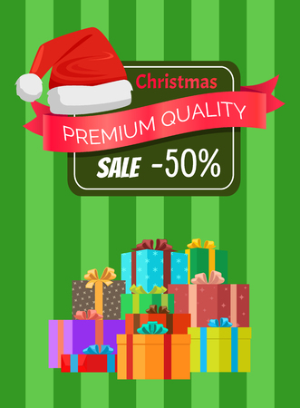 Premium quality Christmas sale advertisement label half price discount and heaps of gift boxes on striped background vector illustration, Santa s hat