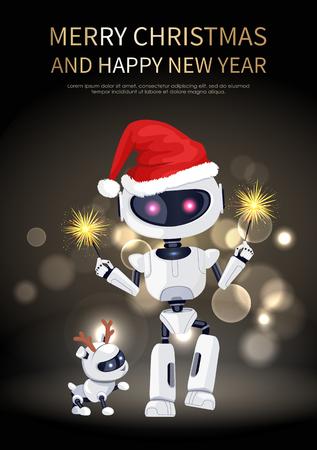 메리 크리스마스 로봇과 개 벡터 일러스트 레이션
