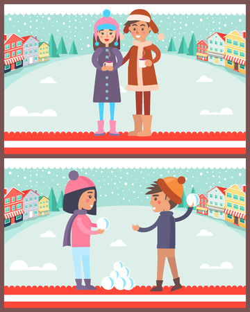 Happy Boy and Girl Playing Snowballs, Drink Coffee Illustration