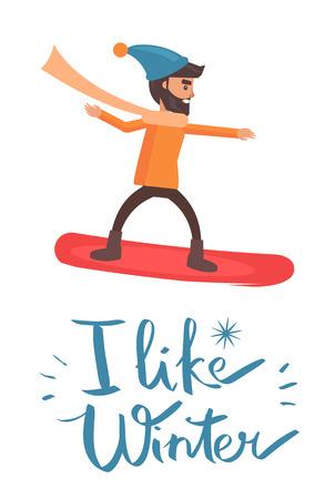 I Like Winter Snowboarder Vector Illustration