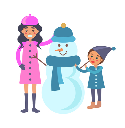Mother and Child Makes Snowman Vector Illustration