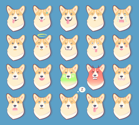 Set of Dogs Emotions, Cute Puppy Symbol Year 2018  イラスト・ベクター素材
