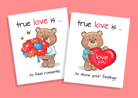 True love is to feel romantic and show feelings set of posters teddy boy with bouquet of flowers and bear with heart shape balloon vector banners.