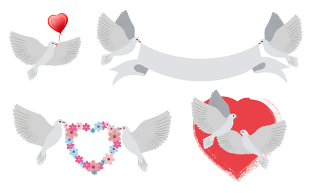 Doves and hearts with banners, birds of love carrying heart shaped object of red color, ribbon and wreath of flowers, isolated on vector illustration