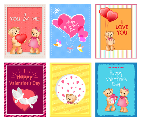 I love you and me teddy bears with heart sign vector illustration of stuffed toy animals, presents for Happy Valentines Day, cartoon posters Stock Vector - 95187666