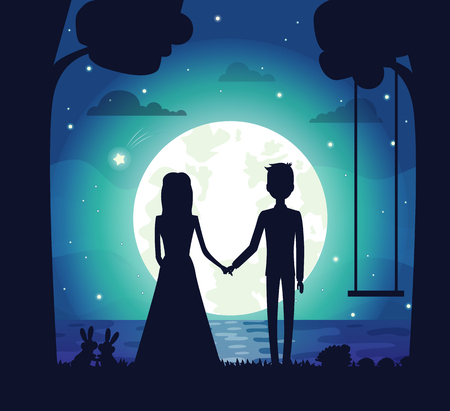 Silhouette of couple at night, clouds and stars, bright full moon and river, trees and swing, bunnies and bushes, isolated on vector illustration 免版税图像 - 95187667