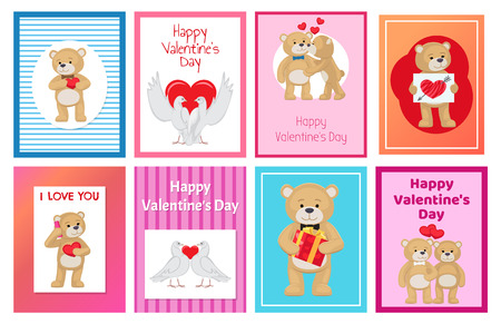 Cute soft toy bears that hold hands and kiss and white doves couples in love with red hearts isolated cartoon vector illustrations for valentines day. Illustration