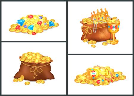 pièces d & # 39 ; or et des trésors précieux dans des vieux sacs