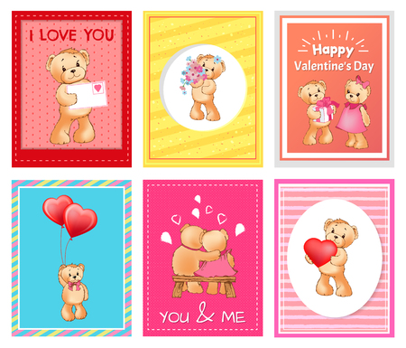 I love you and me teddy bears with heart sign vector illustration of stuffed toy animals, presents for Happy Valentines Day, cartoon posters 版權商用圖片 - 95188084