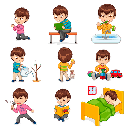 Boy Does Daily Routine Actions Illustrations Set Stockfoto - 95188645
