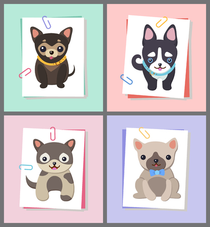 Dogs with Good Mood Collection Vector Illustration Çizim